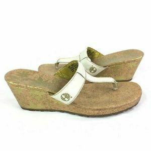 Timberland Cork Heel White Platform Wedge Sandals